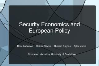 Security Economics and European Policy