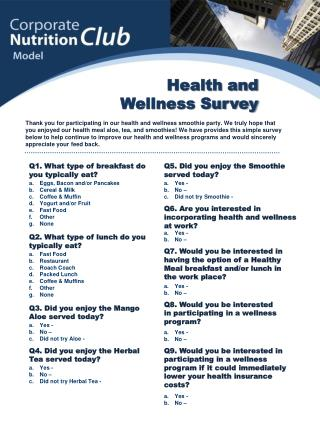 Health and  Wellness Survey