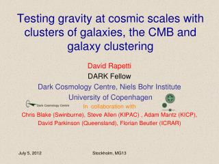 Testing gravity at cosmic scales with clusters of galaxies, the CMB and galaxy clustering