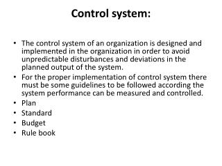 Control system: