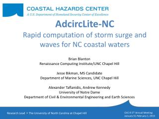 AdcircLite -NC Rapid computation of storm surge and waves for NC coastal waters