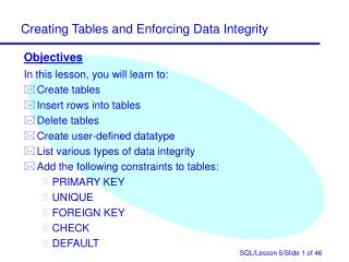 Objectives In this lesson, you will learn to: Create tables Insert rows into tables Delete tables