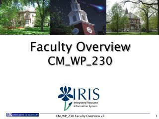 Faculty Overview CM_WP_230