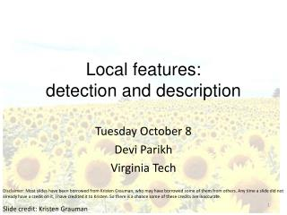 Local features: detection and description