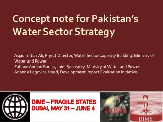 Concept note for Pakistan's Water Sector Strategy