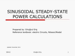 SINUSOIDAL STEADY-STATE POWER CALCULATIONS