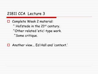 21811 CCA  Lecture 3