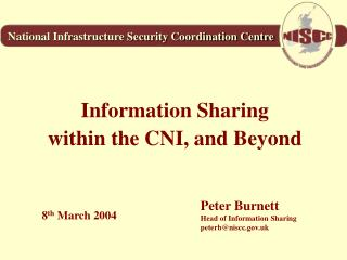 Information Sharing within the CNI, and Beyond