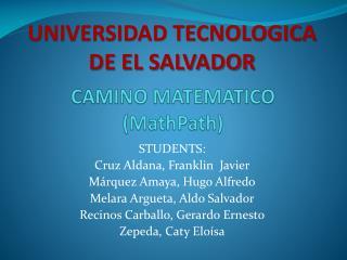 CAMINO MATEMATICO ( MathPath )