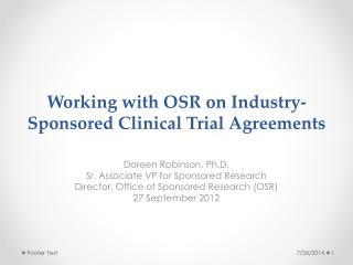 Working with OSR on Industry-Sponsored Clinical Trial Agreements