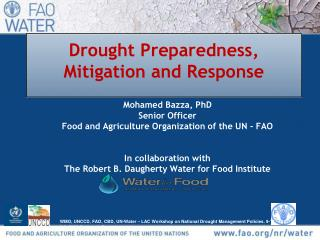 Drought Preparedness, Mitigation and Response
