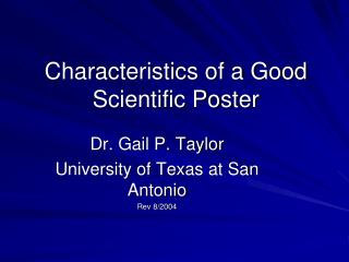 Characteristics of a Good Scientific Poster