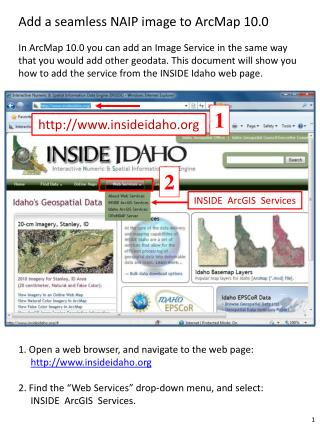 1. Open a web browser, and navigate to the web page: insideidaho