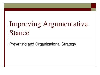 Improving Argumentative Stance