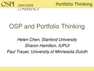 OSP and Portfolio Thinking