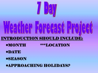 7 Day  Weather Forecast Project