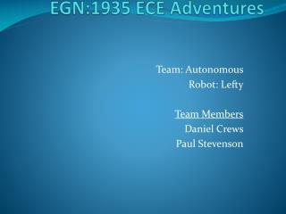 EGN:1935 ECE Adventures