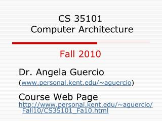 CS 35101  Computer Architecture Fall 2010