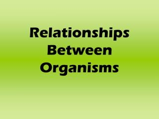 Relationships Between Organisms