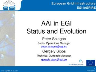 AAI in EGI Status and Evolution