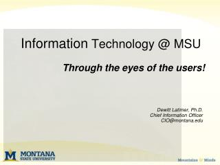 Information  Technology @ MSU