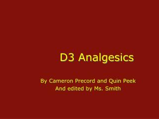 D3 Analgesics