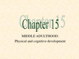 MIDDLE ADULTHOOD:   Physical and cognitive development