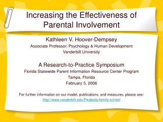 Increasing the Effectiveness of Parental Involvement