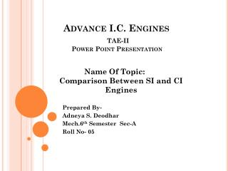 Advance I.C. Engines TAE-II          Power Point Presentation