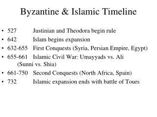 Byzantine  Islamic Timeline