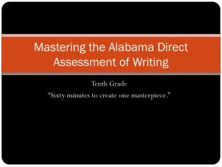 Mastering the Alabama Direct Assessment of Writing