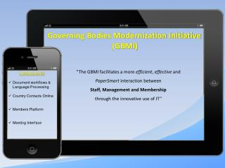 Governing Bodies Modernization Initiative (GBMI)