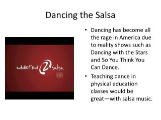 Dancing the Salsa