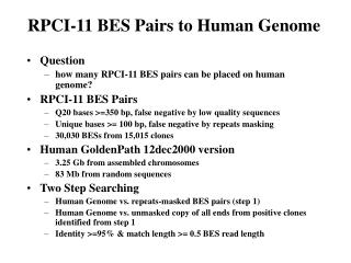 RPCI-11 BES Pairs to Human Genome