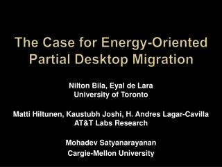 The Case for Energy-Oriented Partial Desktop Migration