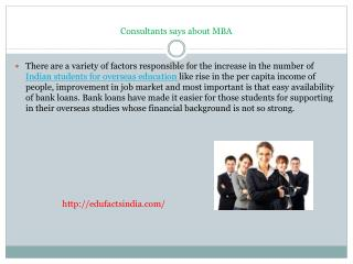 Consultants says about MBA