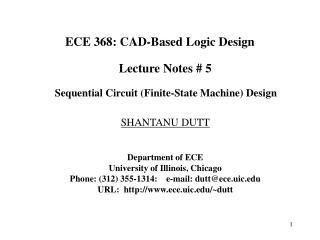 ECE 368: CAD-Based Logic Design