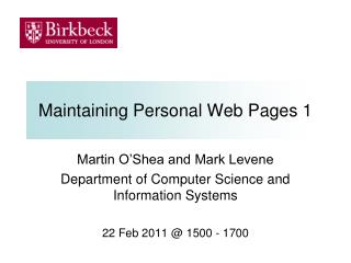 Maintaining Personal Web Pages 1