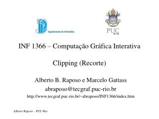 INF 1366 � Computa��o Gr�fica Interativa Clipping (Recorte)