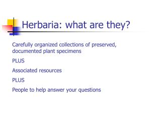 Herbaria: what are they?