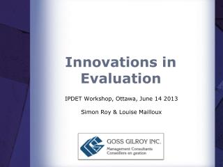 Innovations in Evaluation