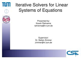 Iterative Solvers for Linear Systems of Equations