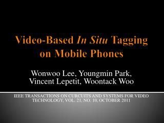 Video-Based  In Situ  Tagging on Mobile Phones