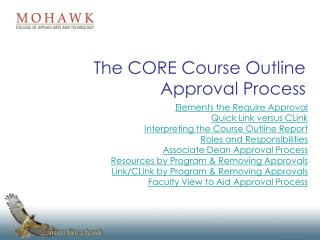 The CORE Course Outline Approval Process