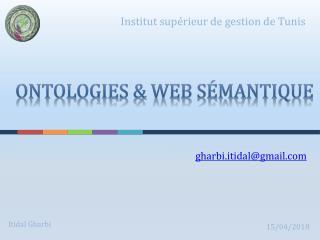 Ontologies & Web sémantique
