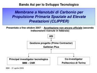 Membrane a Nanotubi di Carbonio per Propulsione Primaria Spaziale ad Elevate Prestazioni (CLIPPER)
