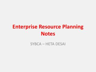 Enterprise  Resource Planning Notes