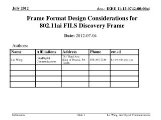 Frame Format Design Considerations for  802.11ai FILS Discovery Frame