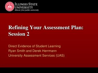 Refining Your Assessment Plan: Session 2