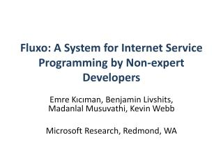 Fluxo: A System for Internet Service Programming by Non-expert Developers